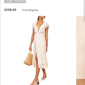 Reformation Garland Lace Trim Midi Dress, white, 2